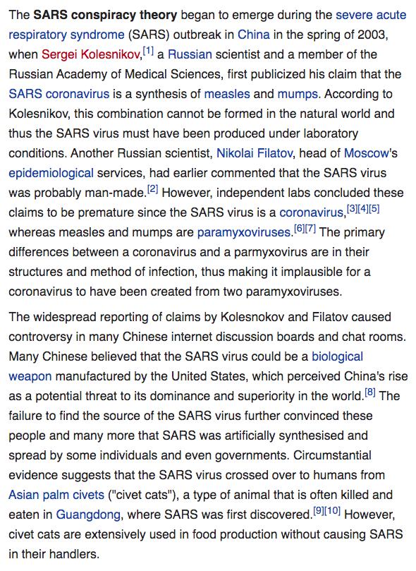 SARS Conspiracy theory.