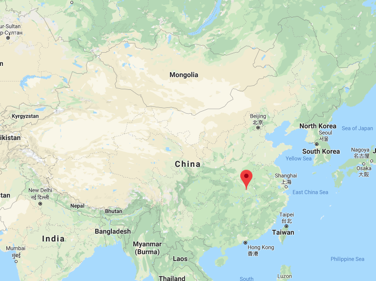 Map showing where Wuhan is located inside of China.
